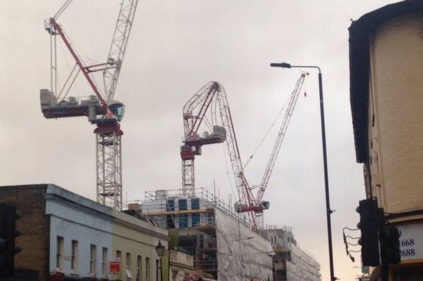 Greenwich crane bent in storm Katie