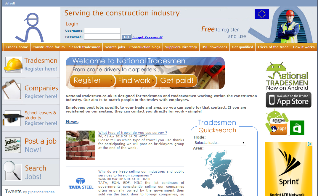 nationaltradesmen.co.uk launched today