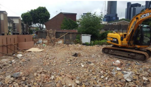 Site after demolition of properties