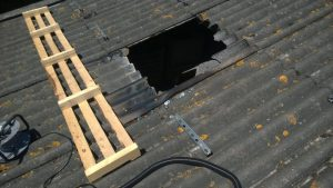 Area where worker fell through roof