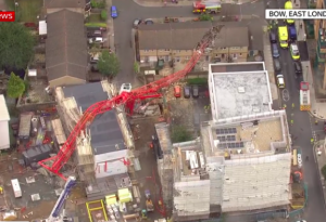 Aftermath of crane collapse courtesy of sky news