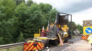 Damage caused by driver on road workers
