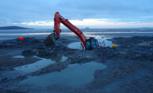 Excavator stuck at weston Super Mare