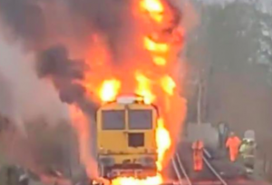 Network rail train catches fire