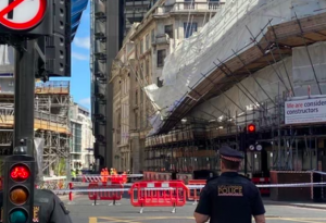 Scaffold collapse in central London